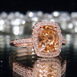 14kt Gold Dipped Halo Swarovski Engagement Ring